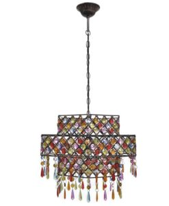 vidaXL Multicolour Polygonal Metal Pendant Lamp with Crystal Beads