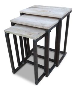 3 Timber & Iron Side Tables