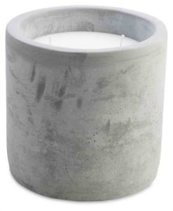 2 wick Cement Candle Holder with Lid and Wax Large