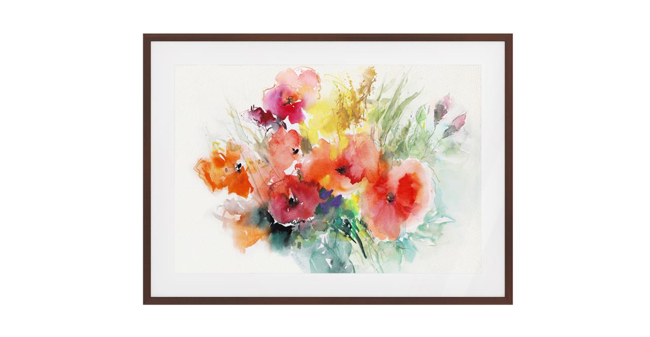 The Bouquet Print Dark Brown Wood Frame Medium