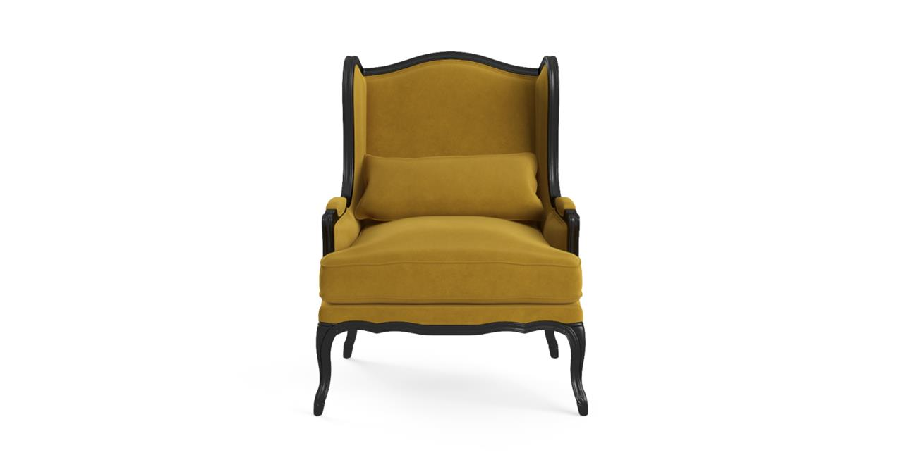 Marion Wingback Armchair Black Solid Oak Yellow Gold Yellow Gold