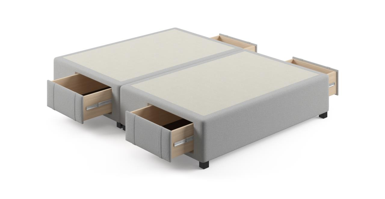 Queen Size Upholstered Bed Frame Base with Drawers Cloud Grey