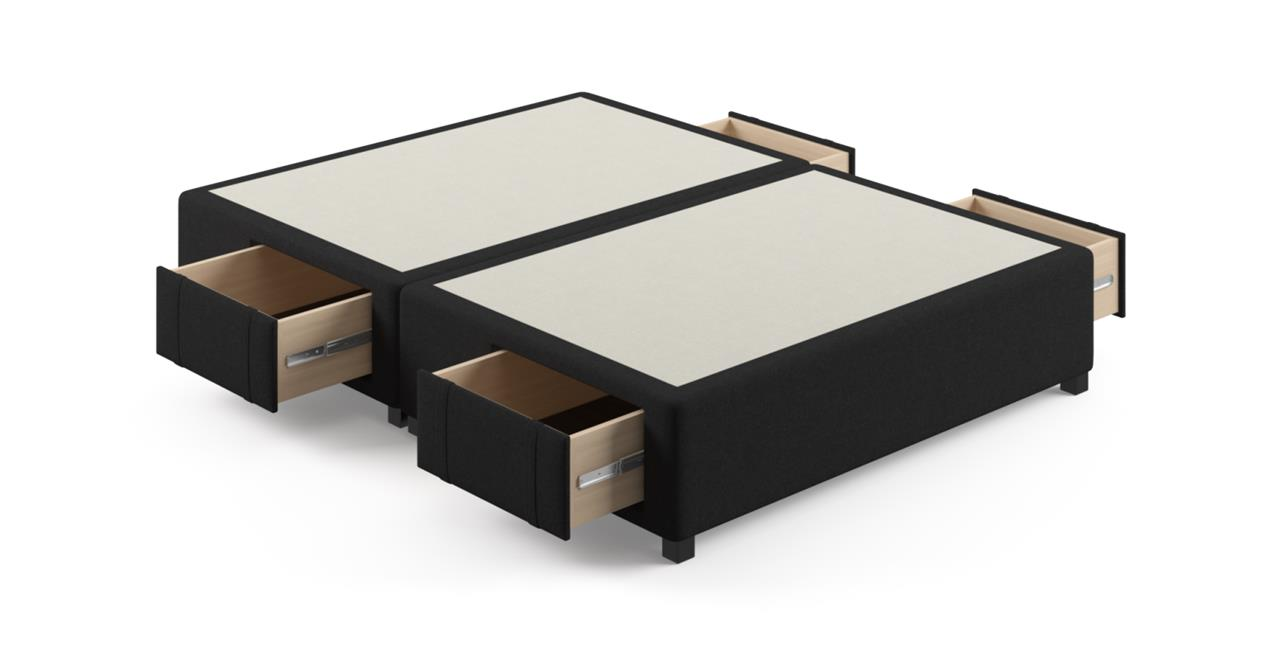 Queen Size Upholstered Bed Frame Base with Drawers Night Black