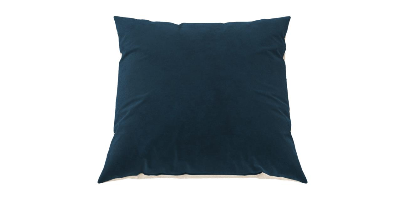 Elementary Cushion Peacock Teal with French Beige 60 x 60 cm