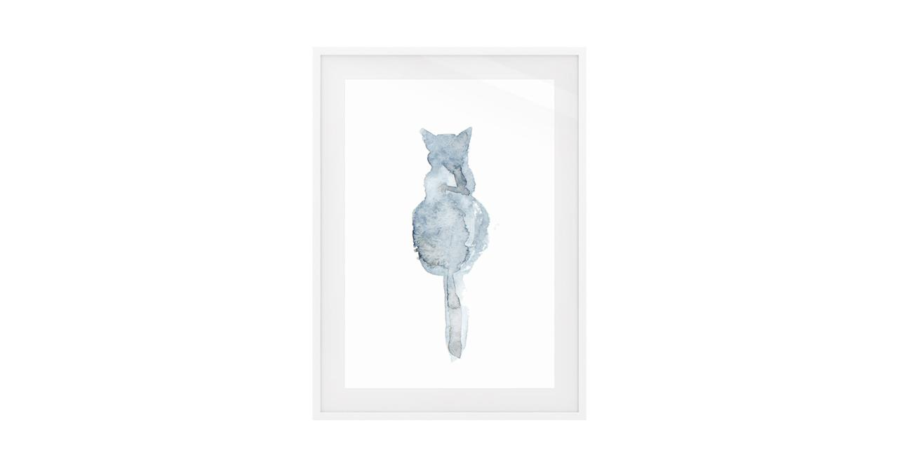 The Cornflower Cat Print White Wood Frame Medium