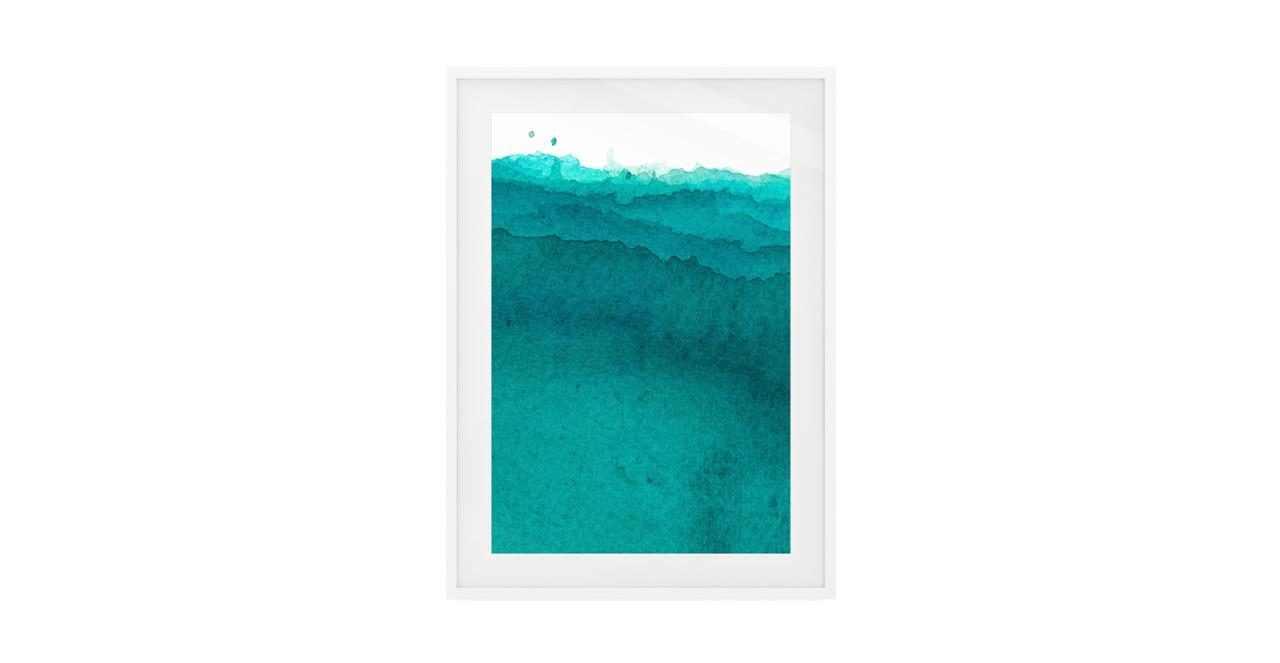 The Cyan Print White Wood Frame Small Aqua