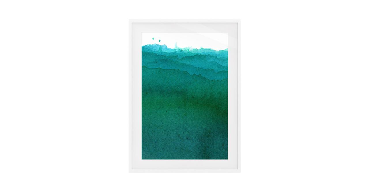 The Cyan Print White Wood Frame Medium Ocean