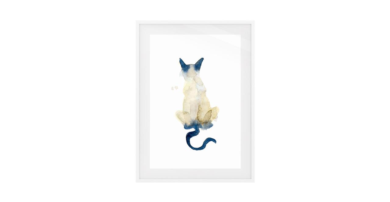 The Porcelain Cat Print White Wood Frame Medium