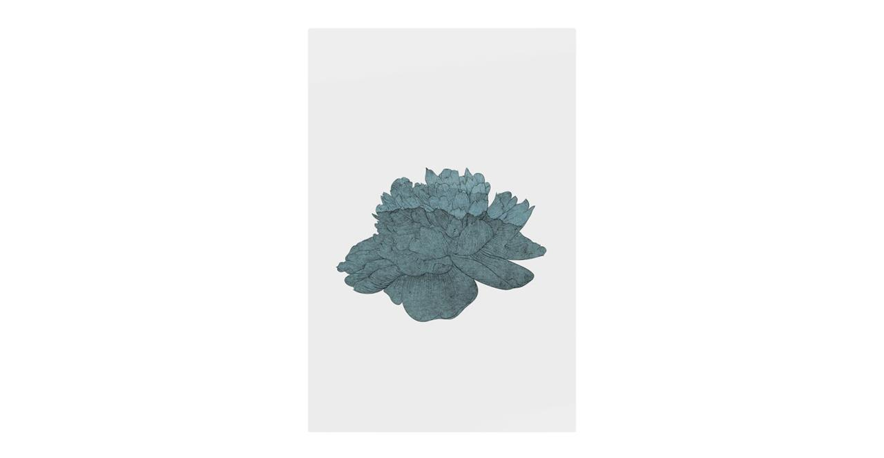 The Flowering Print Metal Print Large Turquoise