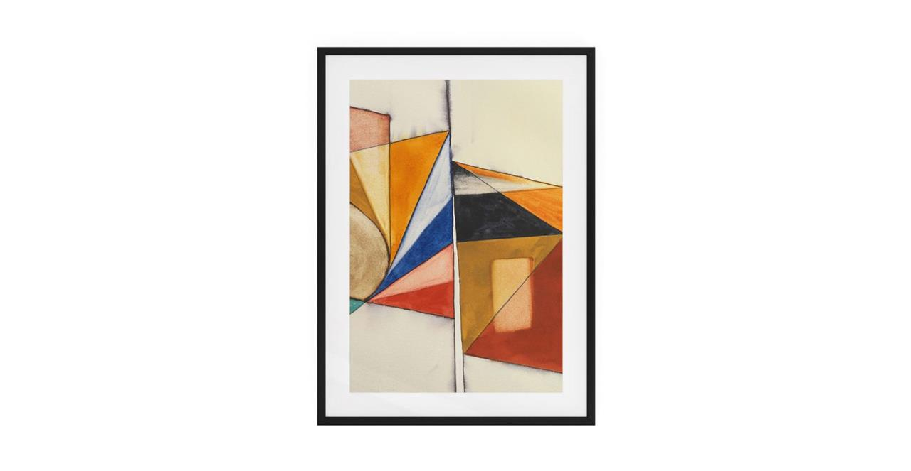 The Fractures Print Black Wood Frame Small Triangle