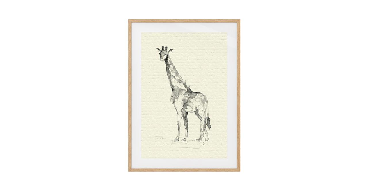 The Safari Print Natural Wood Frame Small Giraffe