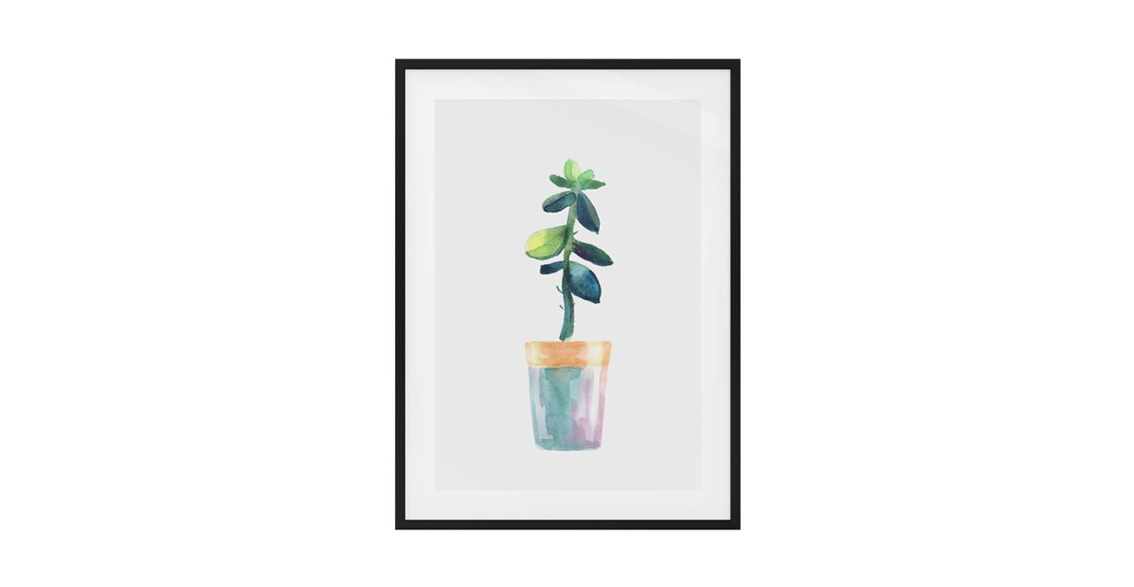 The Succulent Print Black Wood Frame Medium Leaf
