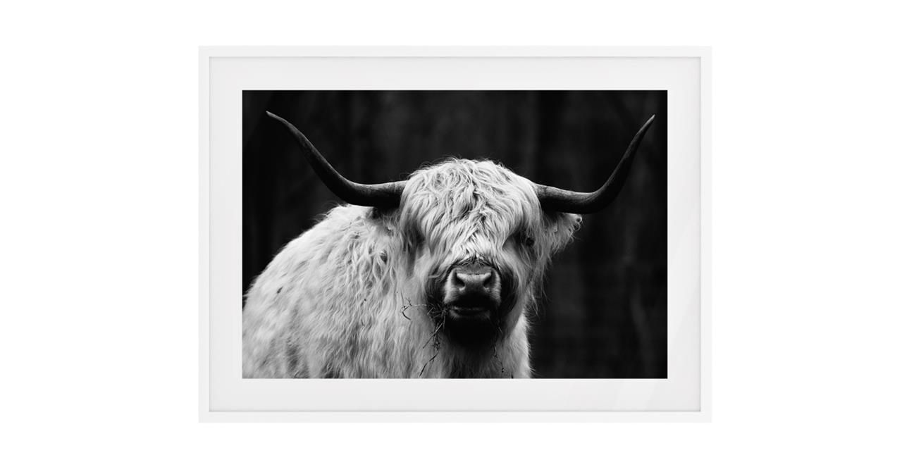 The Highland Print White Wood Frame Small