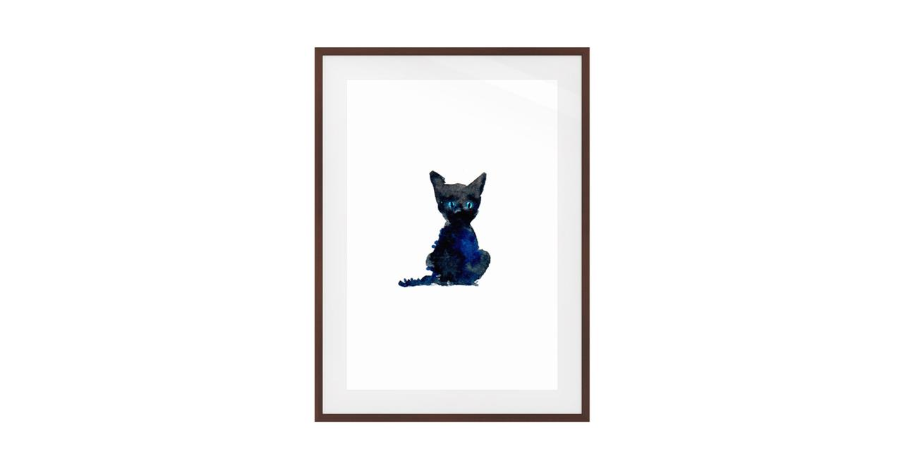 The Indigo Cat Print Dark Brown Wood Frame Small