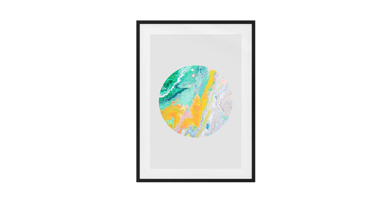 The Marble Print Black Wood Frame Small Yellow