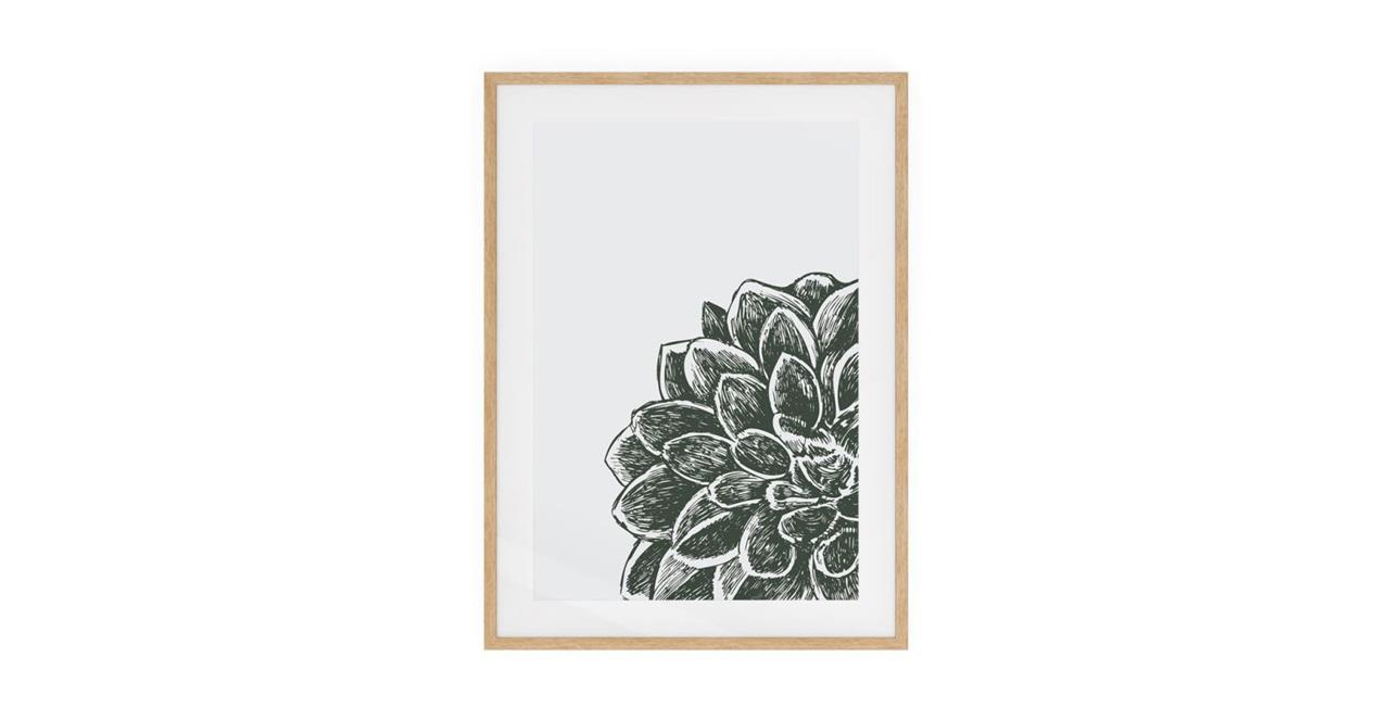 The Monochrome Print Natural Wood Frame Medium Peony