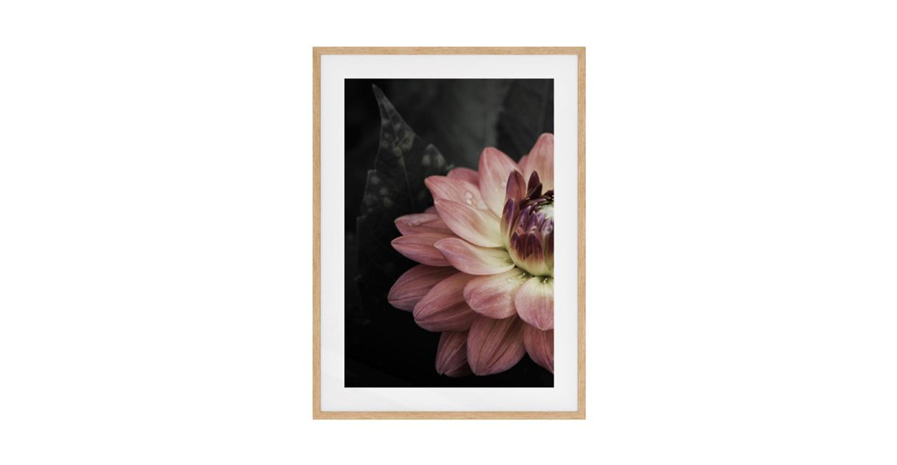 The Water Lily Print Natural Wood Frame Small