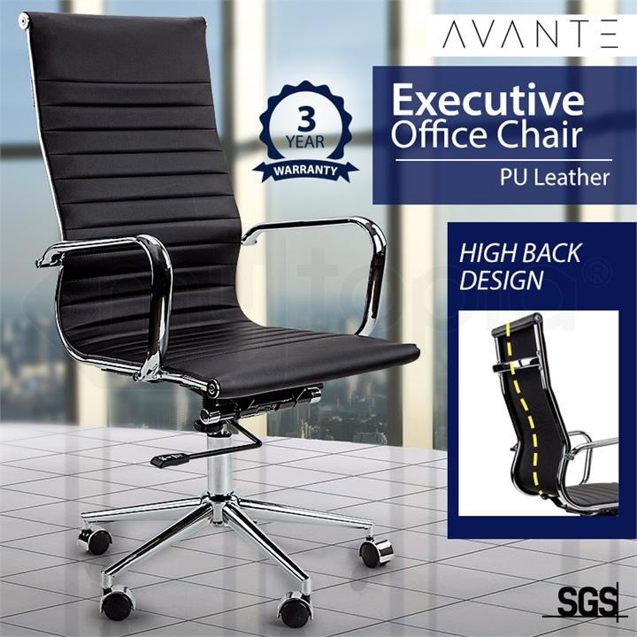 Black Premium Leather Executive High Back Office Chair