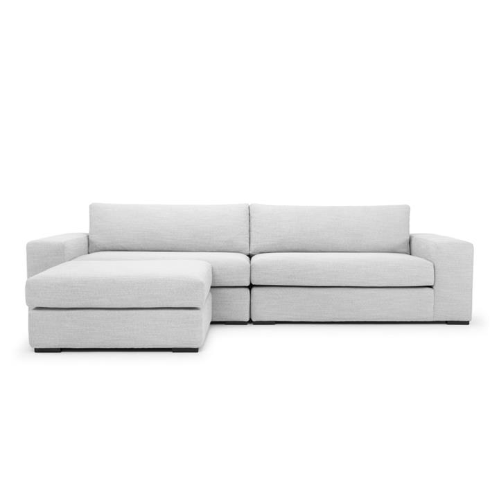 Vera 3 Seater Sofa With Chaise - Light Texture Grey