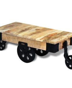 vidaXL Coffee Table with Wheels Rough Mango Wood