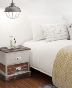 vidaXL Shabby Chic Bedside Cabinet Brown and White