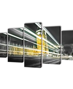 vidaXL Canvas Wall Print Set London Big Ben 200 x 100 cm