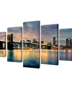 vidaXL Canvas Wall Print Set Brooklyn Bridge River View 200 x 100 cm