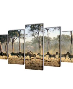 vidaXL Canvas Wall Print Set Zebras 200 x 100 cm