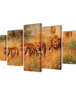 vidaXL Canvas Wall Print Set Lions 200 x 100 cm