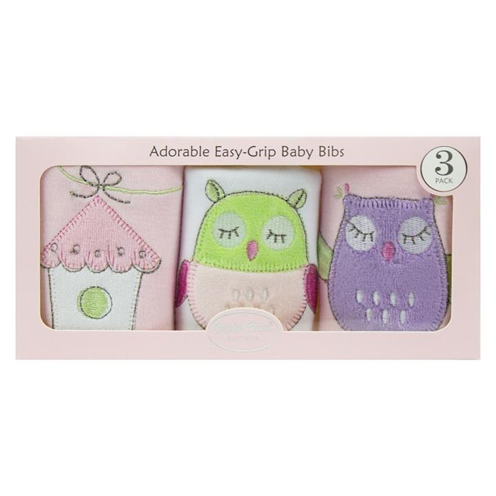 Baby Owl Pink Bib Gift Box (Set of 3)