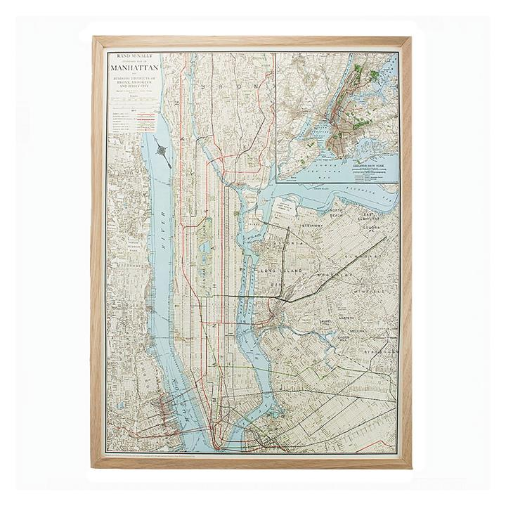 New York Vintage Map Pinboard