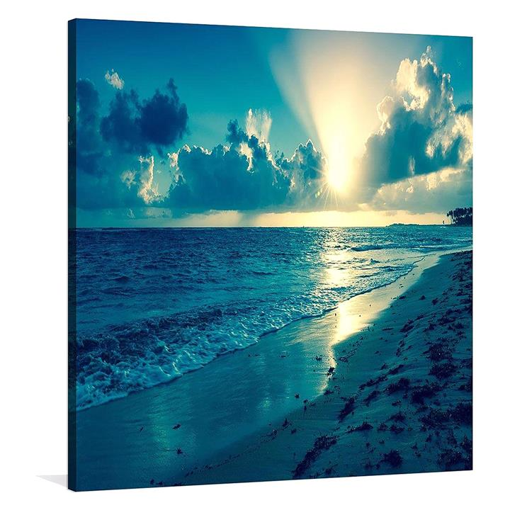 Blue Sunsets Square Canvas Print