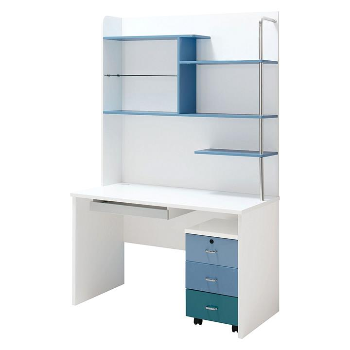 Blue Lover Computer Desk with Bookshelf