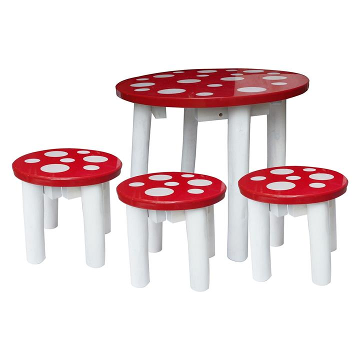 Kids Mushroom Table & Stools Set