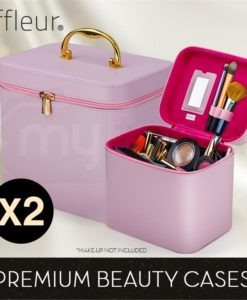 Pink 2x Beauty MakeUp Case Cosmetics