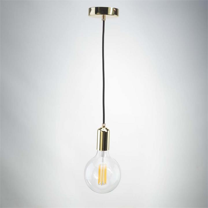 Gold Metal Pendant with G125 Long Clear bulb
