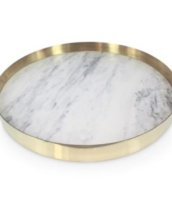 The Orbit Tray | White Marble and Polished Brass