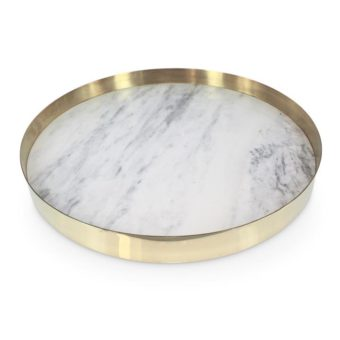 The Orbit Tray   White Marble and Polished Brass