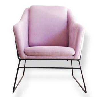 FIFI Accent pink chair with black Steel Frame
