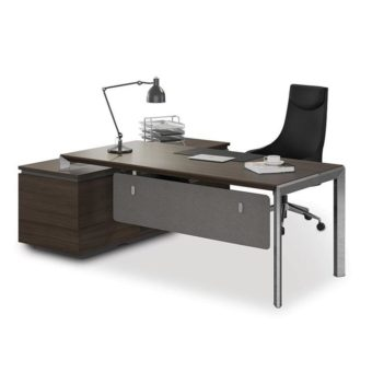 Kaden Executive Office Desk + Reversible Return | Coffee + Charcoal