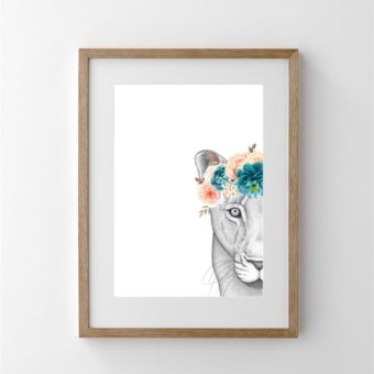 Linda the Lioness with Flower Crown | Print