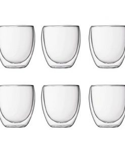 Bodum Pavina Double Wall Glasses Set of 6 Small 80ml