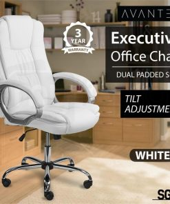 White Faux Leather Executive Office Chair