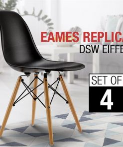 Replica Eames Black Set of 4 Dining Chairs
