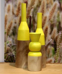 Bottle Vases in timber with yellow dipped color feature set of 3