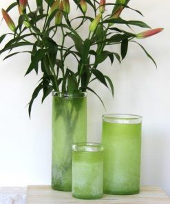 Frosted Glass Lanterns | Set of 3 | Lime Green