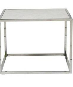 Elle Cube Side Table Stainless & Marble