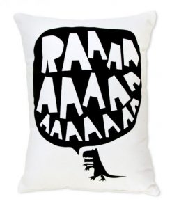 RAAAAA Dinosaur Cushion - Black on White