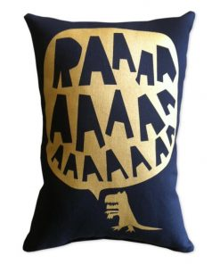 RAAAAA Dinosaur Cushion - Gold on Black