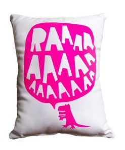 RAAAAA Dinosaur Cushion - Pink on White